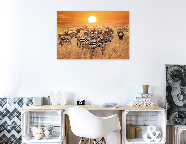 Zebras and African Sunset Photo Print
