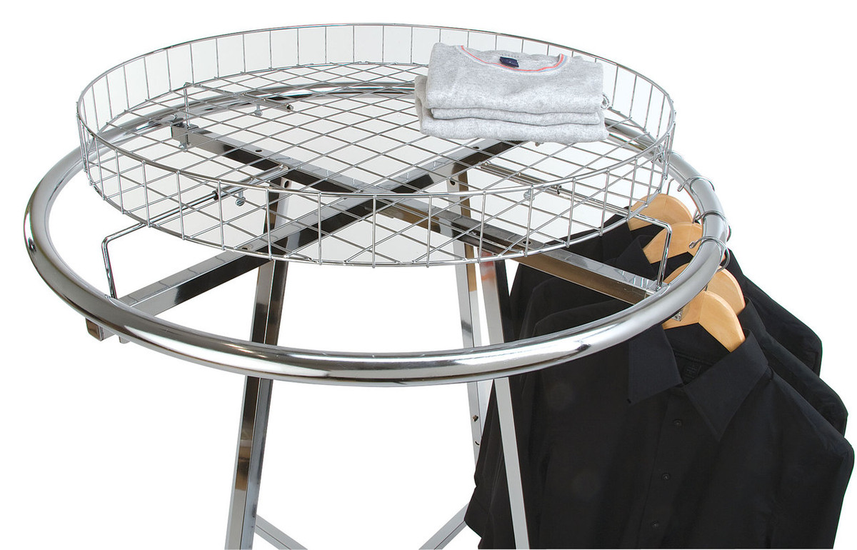 Wire Basket Topper For Round Clothing Racks | Product Display Solutions