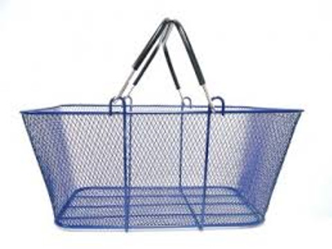 Wire Mesh Shopping Baskets BLUE | Case of 6