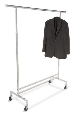Adjustable Height Rolling Clothing Display Rack   Chrome