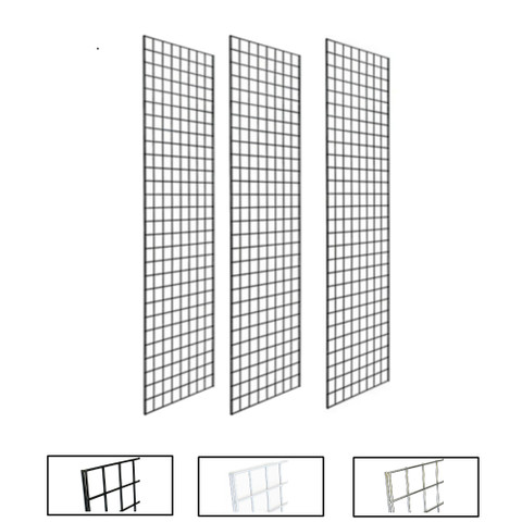 1' X 5' Gridwall Panels | Black, White or Chrome | Case of 3