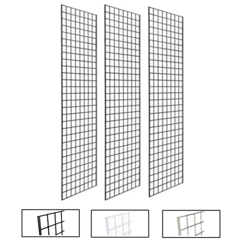 2' X 7' Gridwall Panels   Black, White or Chrome   Case of 3