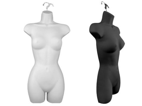Female Full Torso Hanging Body Form | Black or White | Case of 12