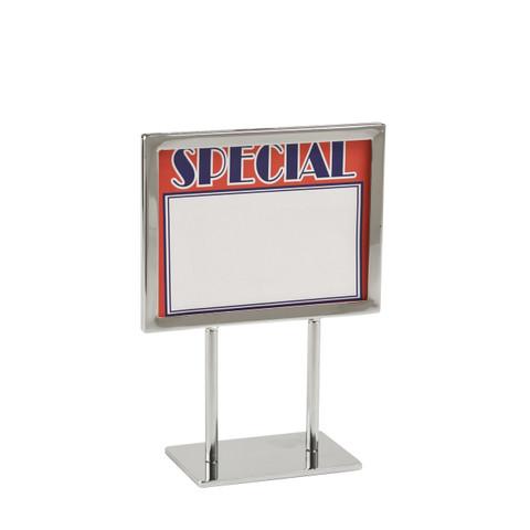 "5.5""H x 7""W Twin Stem Metal Countert Sign Holder | Chrome"