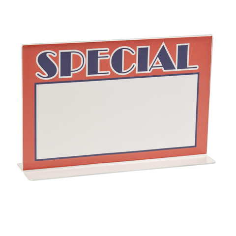 """7""""H x 11""""W Double Sided Acrylic Countertop Sign Holder   Bottom Load"""