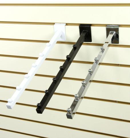 Slatwall 6-Ball Waterfall Faceout Arm | Black, White or Chrome