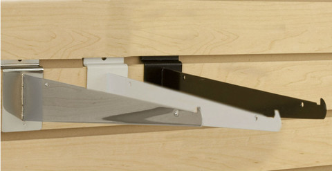 "Slatwall 16"" Metal Shelf Brackets | Black, White or Chrome"