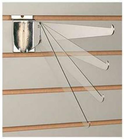 "Slatwall 14"" Metal Adjustable Shelf Brackets   Chrome"