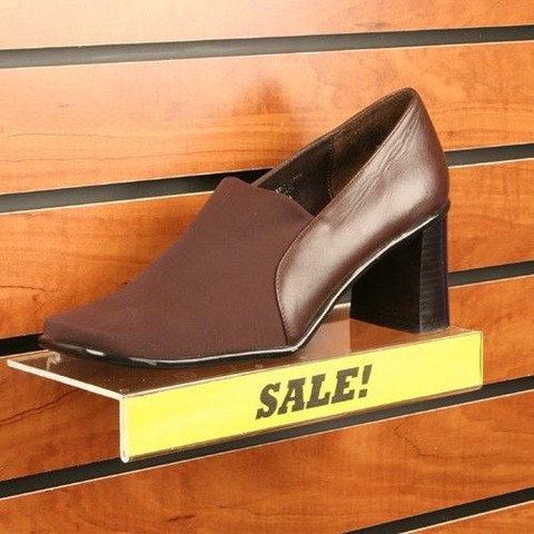 "Slatwall Acrylic Shoe Shelf 4""D X 10""L with 1"" Sign Holder"