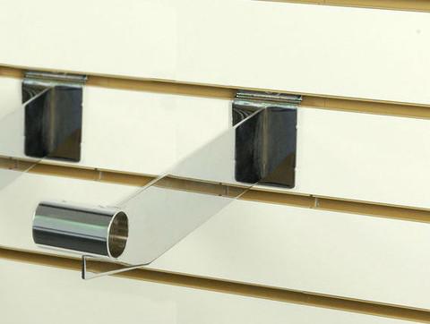 """Slatwall Hangrail Bracket 12""""L For 1"""" Round Tubing   Chrome"""