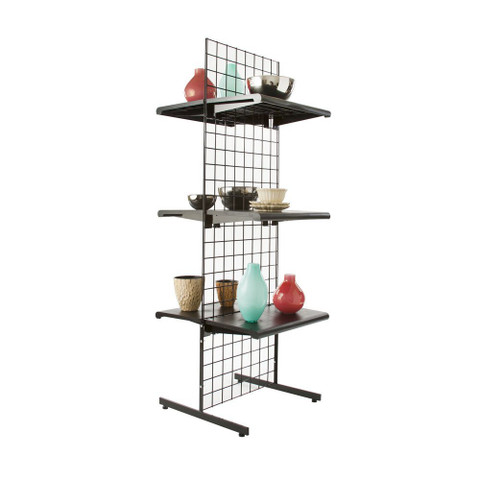 Gridwall Two Sided Free Standing Display | Black, White or Chrome | Set of 3