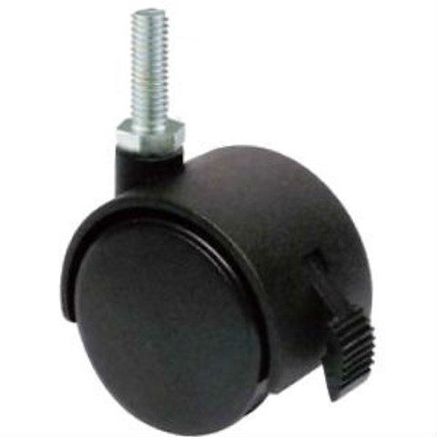 """3/8"""" Threaded Casters for Clothing Racks   Black WITH Brakes"""