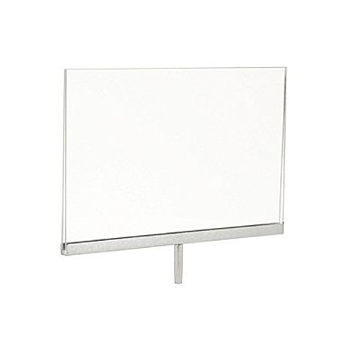 "7""H x 11""W  Plexi Sign Holder for Clothing Racks with 3''L Swedge Stem"