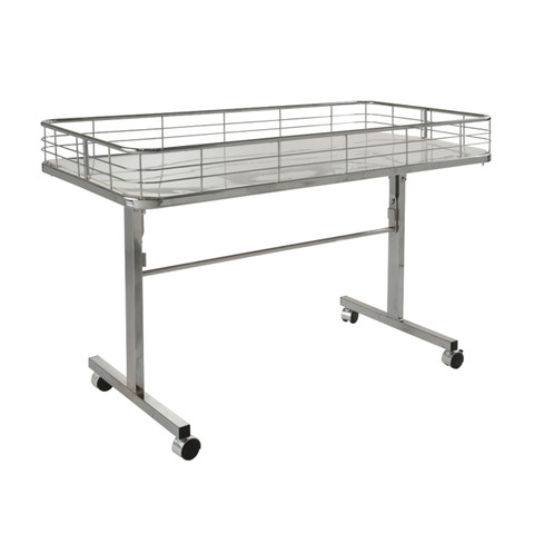 Folding Dump Bin Table on Wheels | Chrome