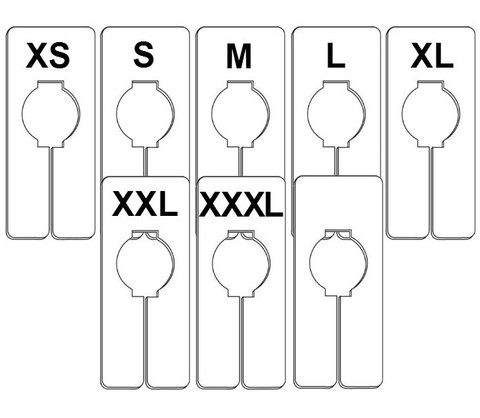 Rectangular Size Dividers | Size Options: XS to XXXL | Case of 100/Size
