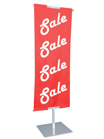 """48""""H to 84""""H x 24""""W Adjustable Floor Standing Banner Displayer   White"""