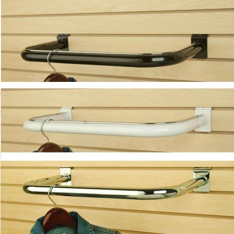 Slatwall C Shapped Hangrail | Black, White or Chrome | Case of 10