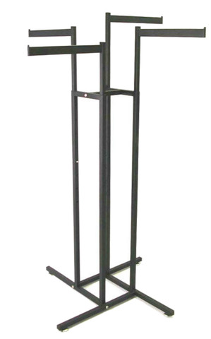 """Texture  Black 4 Way Rack With Four 16"""" Long Straight Display Arms"""