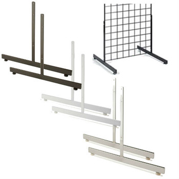 Gridwall Legs T Shaped Black White Or Chrome Finish