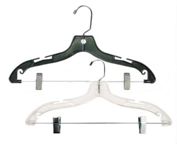 17 Quot Plastic Suit Hanger With Swivel Hook Black Or Clear