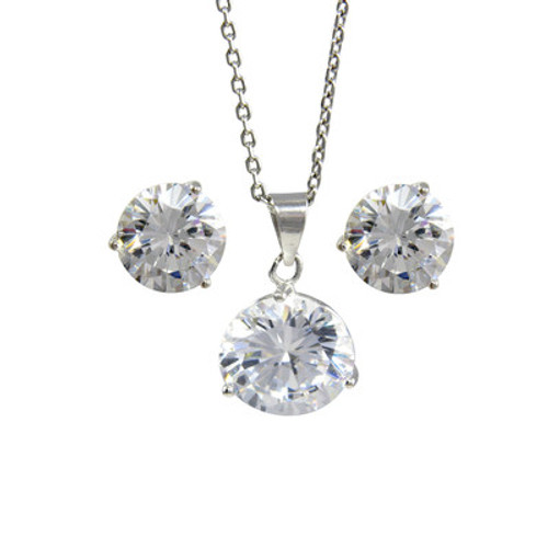 Platinum plated sterling silver white cubic zirconia pendant platinum plated sterling silver white cubic zirconia pendant necklace 9mm and stud earrings 8mm aloadofball Images