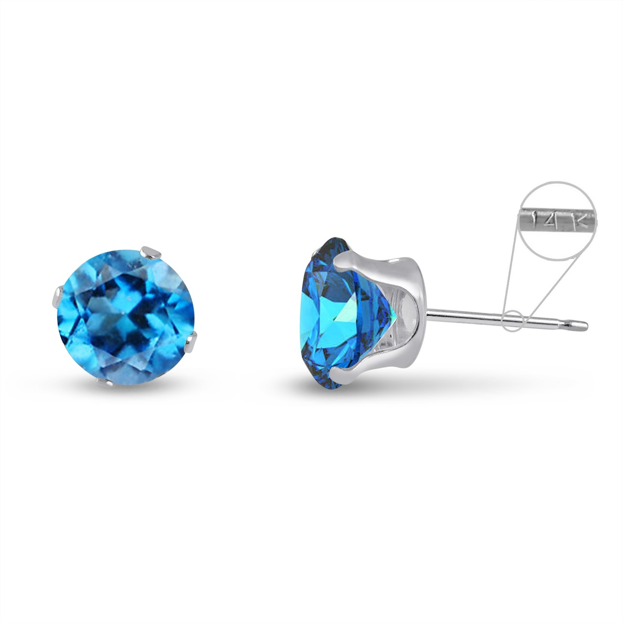 earrings stud topaz ekm oblong gemstone sterling asp silver in blue p