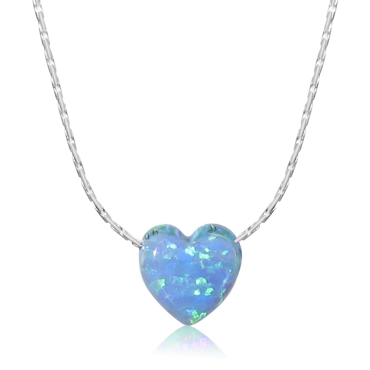 Opal heart pendant necklace aloadofball Choice Image