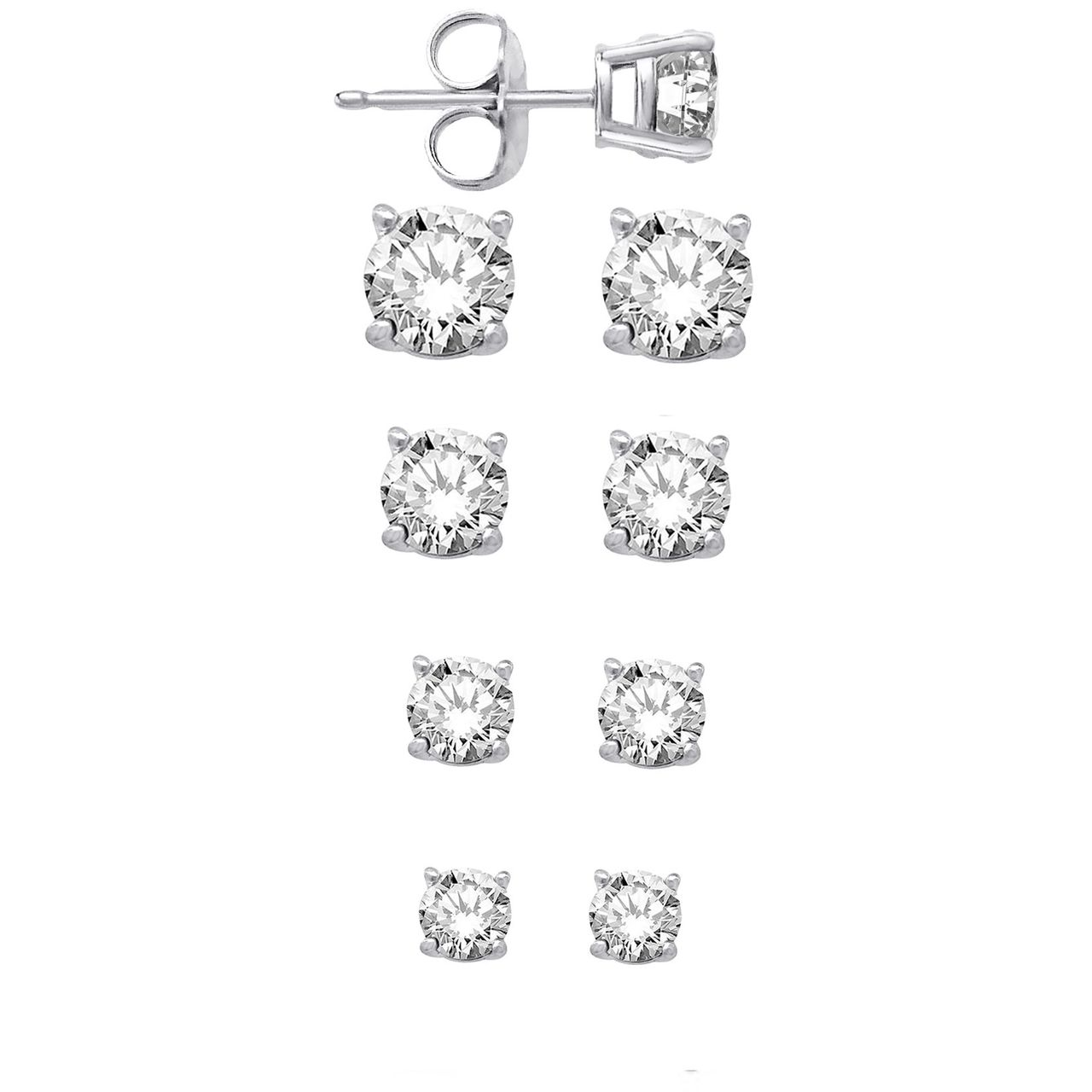 Sterling Silver Round Cz Stud Earrings Set Of Four Sizes 4mm 5mm 6mm 7mm