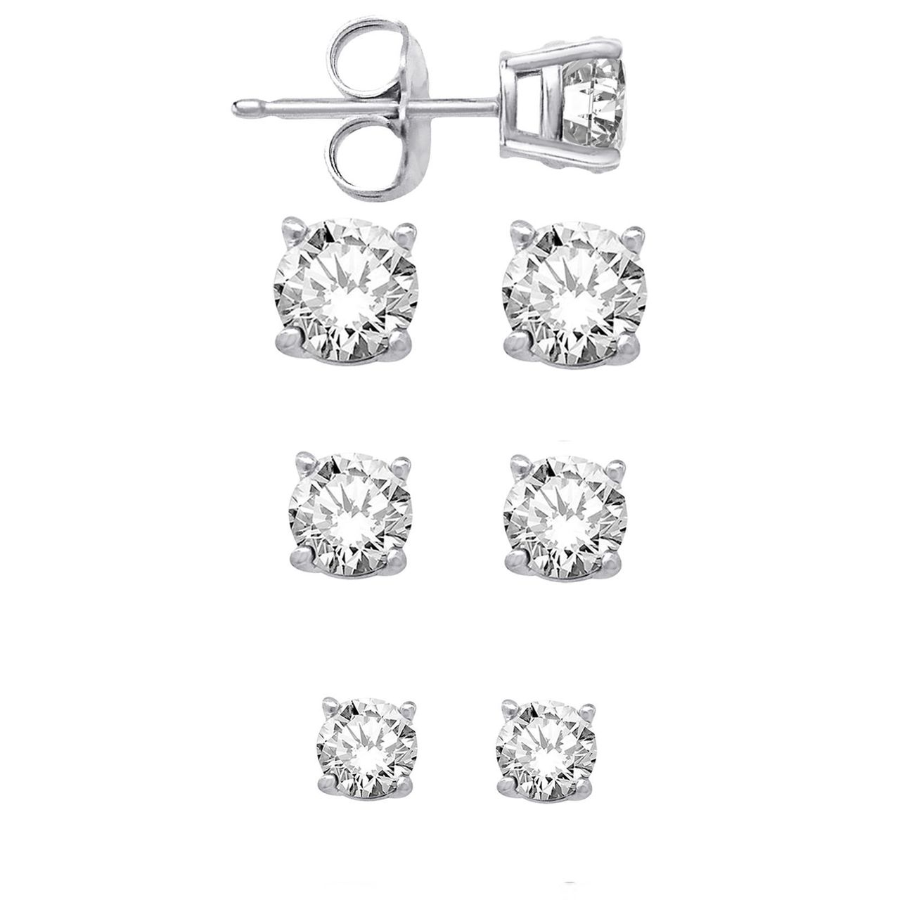 925 Sterling Silver Round Cz Stud Earrings Set Of Three Sizes 4mm 5mm 6mm