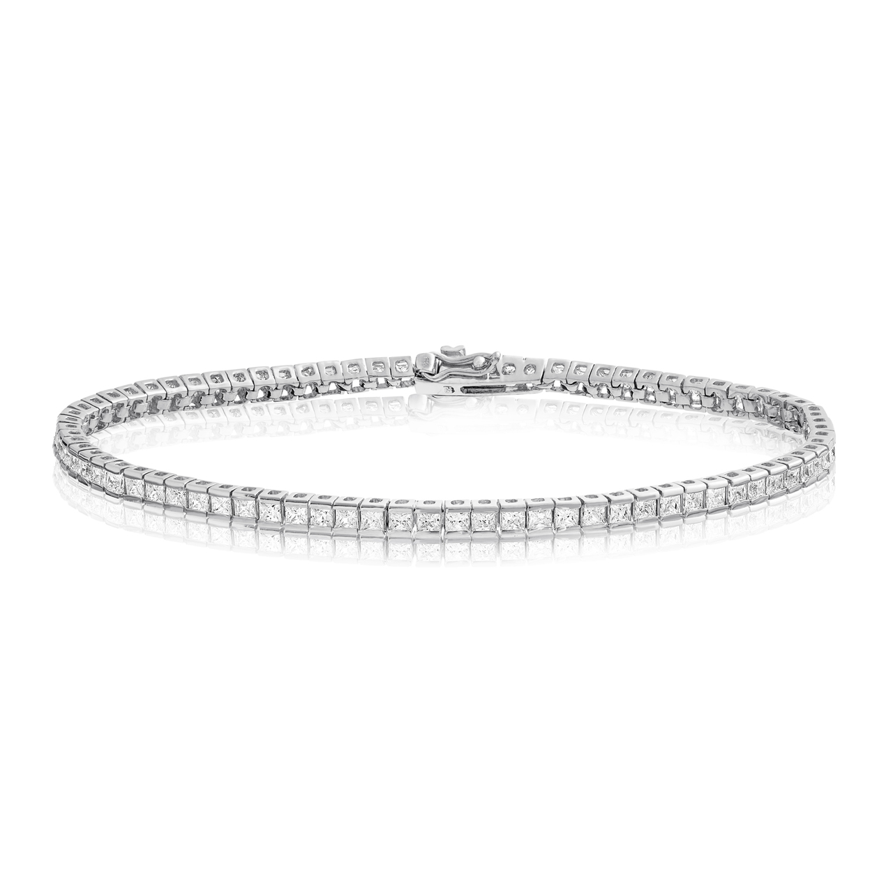 bracelet inch tennis sterling round black rhodium cz silver plated