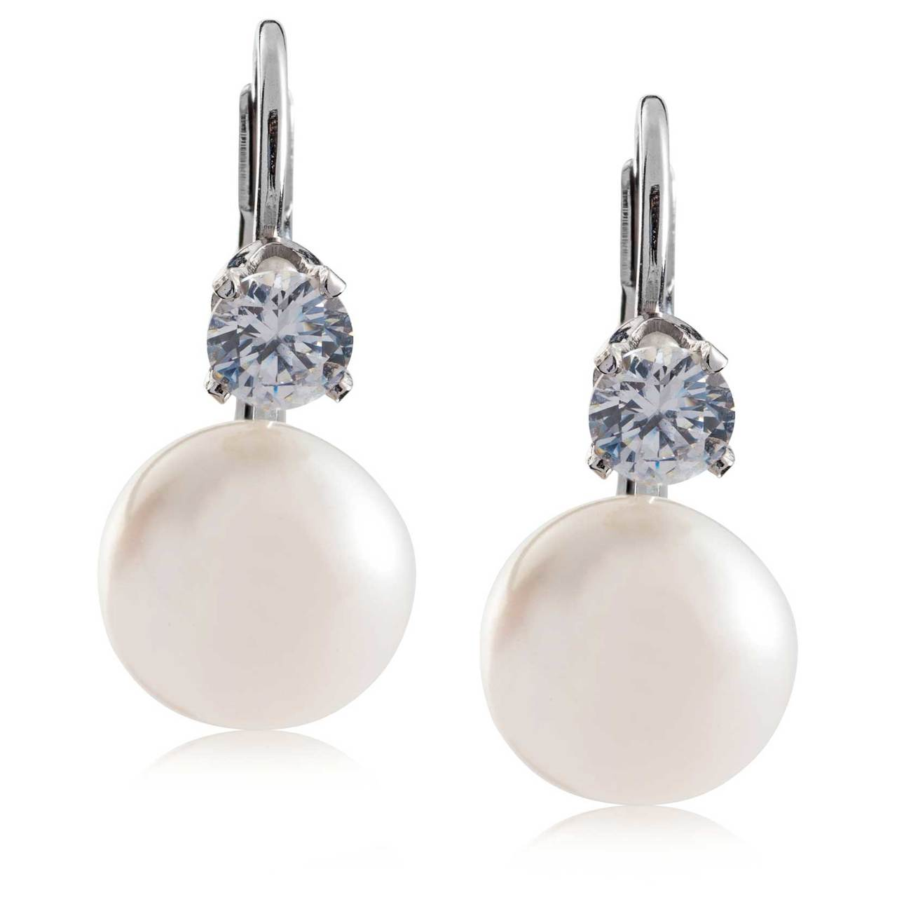 Kezef .925 Solid Sterling Silver 13mm Freshwater Button Pearl Leverback Earrings oqHWrDPsAO