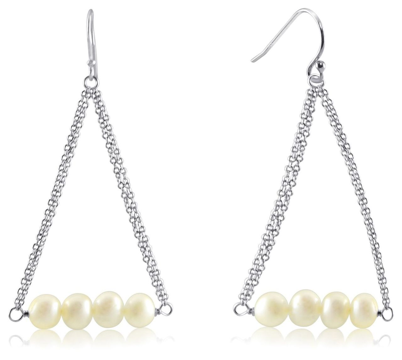 Dangling Freshwater Pearls from Sterling Silver Cable Chain Ear Wire ...