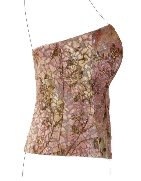 Corsetto in Georgette di Seta con applicazioni in ciniglia in caldi colori autunnali.