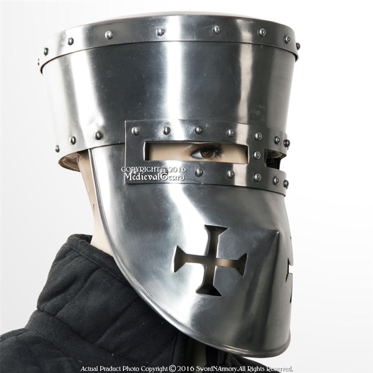 functional 16g steel crusader knights templar helmet great helm wma