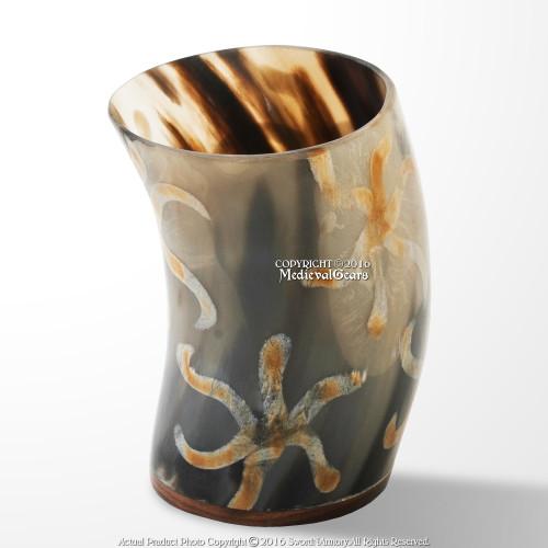 Handmade Medieval Viking Drinking Mug Cow Horn Tumbler With Earthen