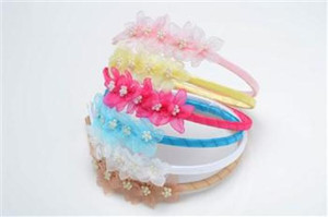 Girls Organza Flower headband with Pearl cluster center--HB011