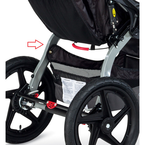 BOB Revolution PRO/Single 2014-2015 stroller Swing Arm installed.
