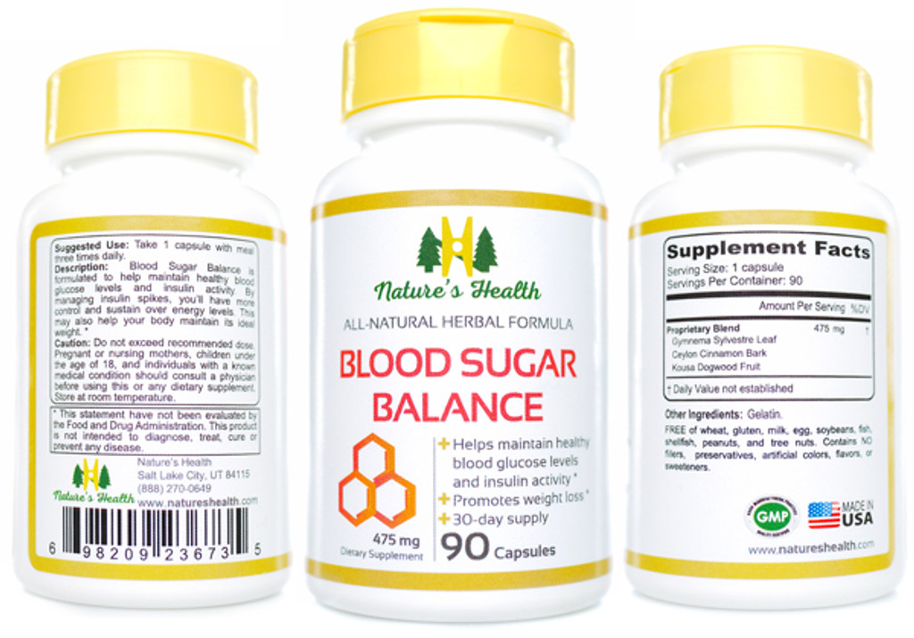 Blood Sugar Balance Glucose Support Herbal Supplement