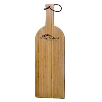 bamboo wine bottle cutting board with custom imprint