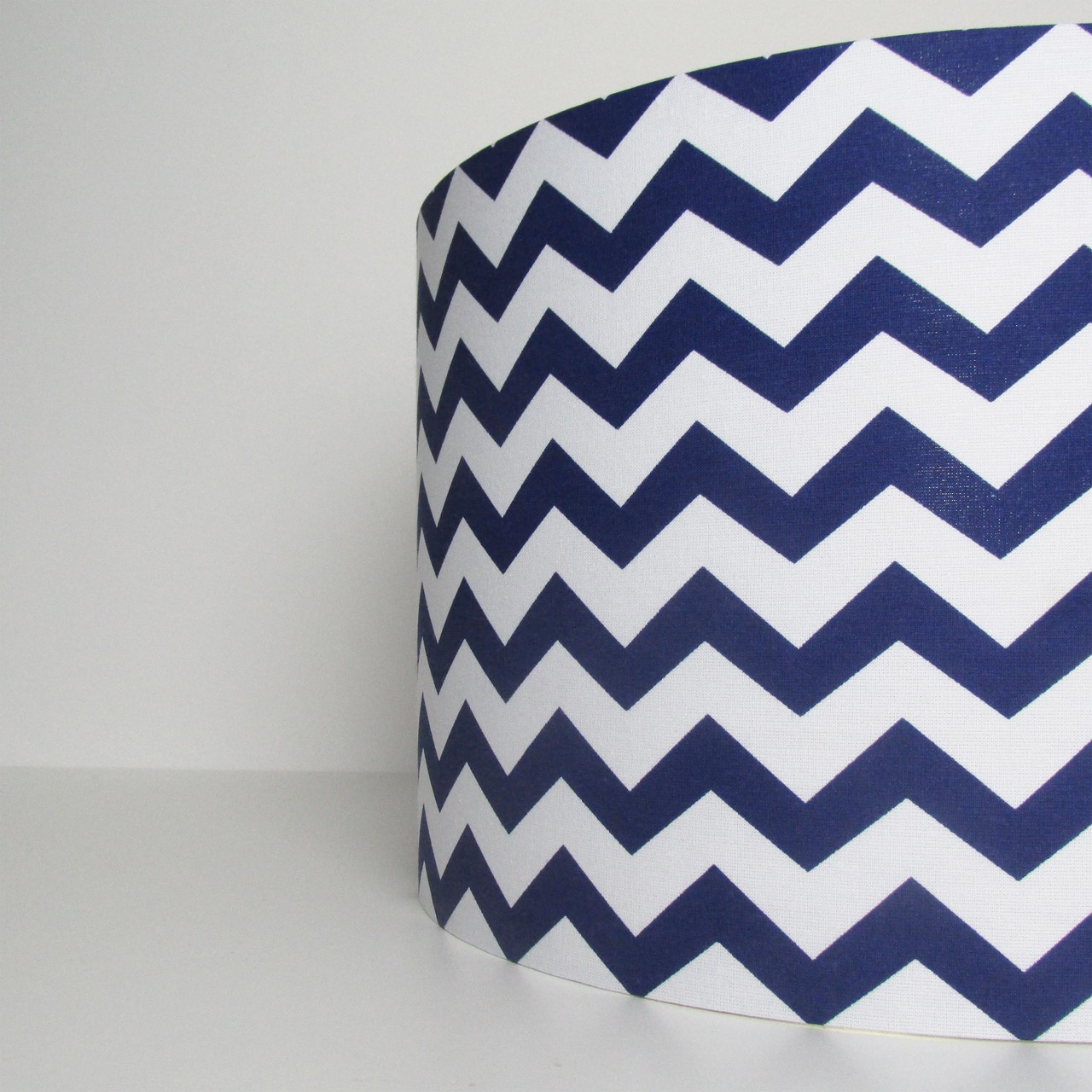 Blue Lampshade with White Chevrons Design
