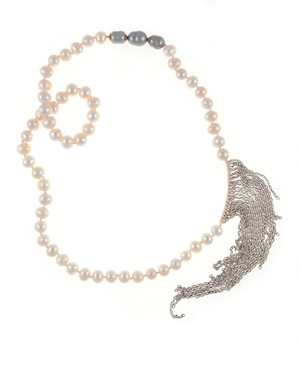 """Avalon Pearl Necklace Naughton Braun - Single strand white freshwater pearls 10mm, with three silver baroque pearls 11-12mm, interspersed with gold colored accents and white gold-washed colored chain (7""""), pearls individually hand-knotted on natural silk,  26"""" in length."""