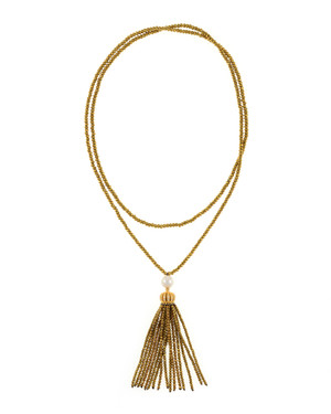 """Cotton Club Collection* - Hematite and Pearl Jewelry, Single strand gold-tone hematite bead necklace with white freshwater pearl 9mm, suspended with CZ set gold-toned crown supporting  hematite bead tassel, overall drop 3"""", 32"""" in length."""