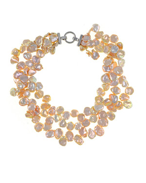 "Peachtree Street Pearl Necklace: Triple strand extra-large natural color peach keshi pearls 12-13mm, on individually hand-knotted natural silk, silver-tone locking buckle clasp, 18"" in length (princess length)"
