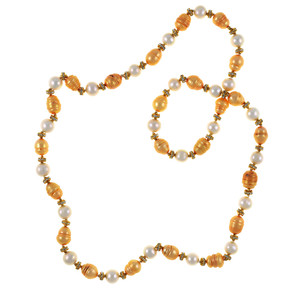 "Leone d'Oro II - Pearl Necklace: Single strand freshwater pearl necklace,  white 9mm and gold 10.5x13mm laser dyed pearls interspaced with crystal and mixed metal beads, longer necklace, 30"", rope or lariat length"