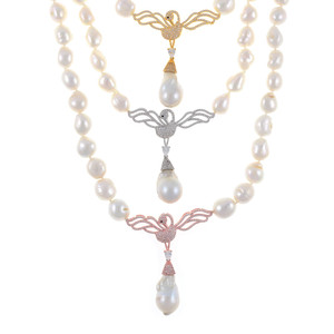 "Odette Anthology* - Pearl Necklace, View of all 3 Odette Necklaces: Single strand white potato pearls 13-14mm, 7cm CZ gold-tone, or silver-tone, or rose-gold tone swan pendants with biawa 18-19mm, CZ covered gold-tone mixed metal locking circle clasp, 18"" in length, princess length"