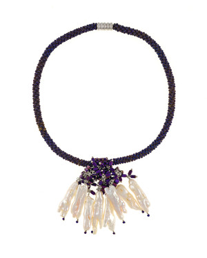 """The Luray Treasury* Pearl Necklace in Amethyst necklace: Hand-woven amethyst matte hematite bead necklace with 8 dangling tooth freshwater pearls and matching polished hematite beads, with rare earth mixed metal magnetic clasp, 17"""" length with 2.5"""" tooth pearl drop."""