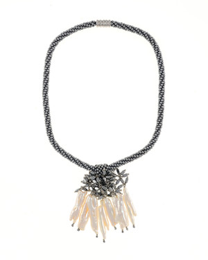 "The Luray Treasury* Pearl Necklace in Silver: Hand-woven silver matte hematite bead necklace with 8 dangling tooth freshwater pearls and matching polished hematite beads, with rare earth mixed metal magnetic clasp, 17"" length with 2.5"" tooth pearl drop."