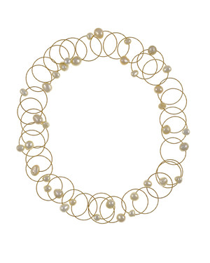 "Truilli - Pearl Necklace,    36 white freshwater pearls, 7.0-11.0 mm, on individual intertwining shiny textured brass rings,  Pearl necklace can be converted from a 45"" long lariat style necklace to a choker style necklace with the included gold-toned converter"