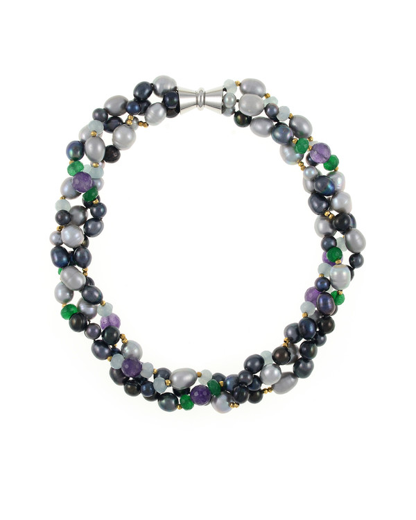 Andora - Pearl Necklace Accented with Stones, Triple strand, silver and black colored round freshwater pearls 7-9mm, rice pearls 9-11mm, jade beads, amethyst beads, gold glass accent beads,   hand-knotted on dark gray silk with rare earth mixed metal magnetic clasp