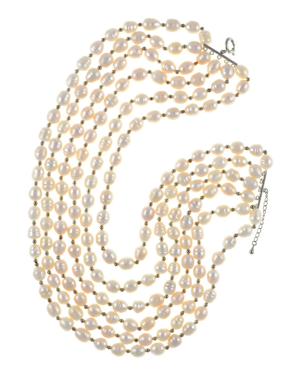 Beauchamp Place - Pearl Necklace 6 strand, freshwater white rice pearls 9.5-10.5mm, interspaced with silver color beads, on individually hand-knotted natural silk with silver metal lobster claw and jump chain.